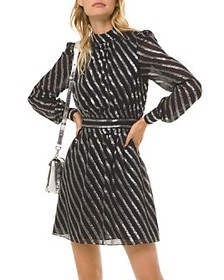 MICHAEL Michael Kors - Metallic-Stripe Mini Dress