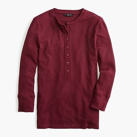 J. Crew Ribbed henley with three-quarter sleeves