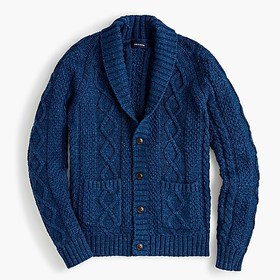J. Crew Cotton cable-knit shawl-collar cardigan sw