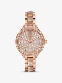 Michael Kors Slim Runway Pavé Rose Gold-Tone Watch