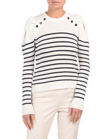 JOIE Ruthine Striped Puff Sleeve Sweater