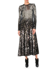 Givenchy Long-Sleeve A-Line Sequined Embroidered L