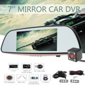 "1080P HD 7"" Rear view Blue Mirror Dual Lens Touch"