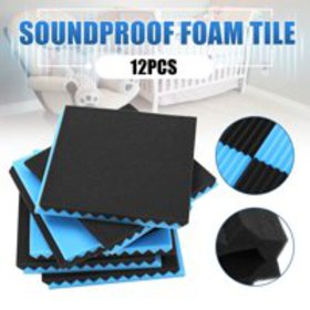 "12-Pack 12"" x 12"" x 1"" Black + Blue Acoustic Wedge"
