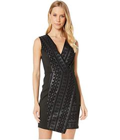 BCBGMAXAZRIA Faux Leather Embroidered Dress
