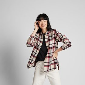 WOMEN FLANNEL CHECKED LONG-SLEEVE SHIRT, OFF WHITE