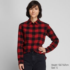 WOMEN FLANNEL CHECKED LONG-SLEEVE SHIRT, RED, medi
