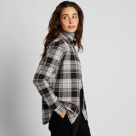 WOMEN FLANNEL CHECKED LONG-SLEEVE SHIRT, GRAY, med