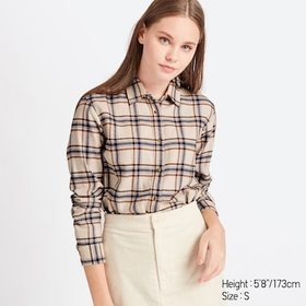 WOMEN FLANNEL CHECKED LONG-SLEEVE SHIRT, NATURAL,