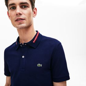 Lacoste Men's Slim Fit Stripe-Accented Cotton Piqu