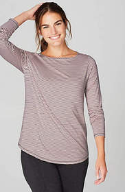 Fit Striped Keyhole Top