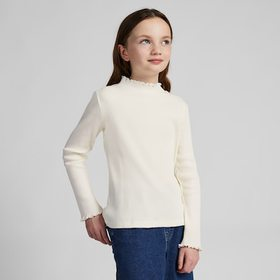 GIRLS RIBBED FRILL HIGH-NECK LONG-SLEEVE T-SHIRT,