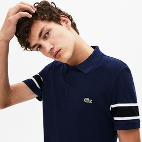 Lacoste Men's Slim Fit Striped-Sleeve Stretch Cott