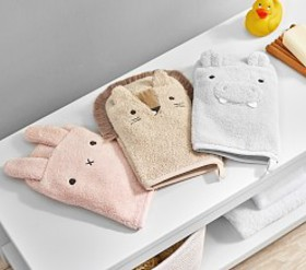 Pottery Barn Super Soft Critter Baby Bath Mitts