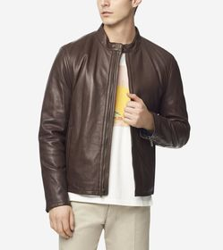 Cole Haan Smooth Lamb Moto Jacket