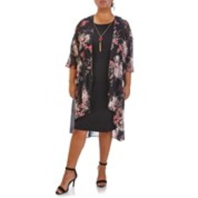 GLAMOUR Dress with Necklace and Floral Chiffon Cov