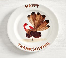 Pottery Barn Happy Thanksgiving Turkey Charger Pla
