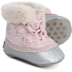 Sorel Tiny Leopard Caribooties (For Girls) in Dust