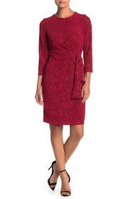 London Times Tie Waist Lace Dress (Petite)