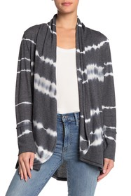C & C California Printed Textured Knit Shawl Cardi