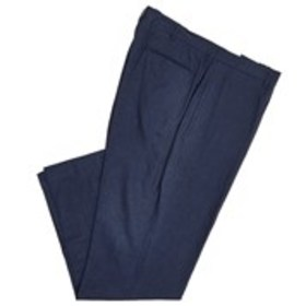 ALAN FLUSSER Mens Navy Linen Flat Front Dress Pant
