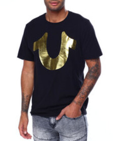 True Religion gold big buddha logo ss crew
