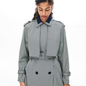 Lacoste Women's Belted Check-Print Canvas Trench C