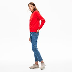 Lacoste Women's LIVE Rose-Embroidered Cropped Jean