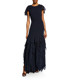 Halston Flutter Cap-Sleeve Georgette Gown with Dra