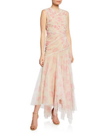 Jason Wu Collection Floral-Print Gathered Tulle Dr