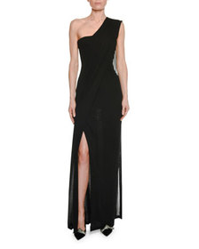 TOM FORD One-Shoulder Bustier Gown with Scarf Deta