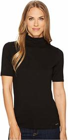 MICHAEL Michael Kors Short Sleeve Solid Mock Neck