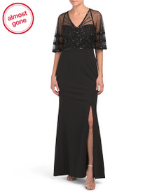 ADRIANNA PAPELL Beaded Overlay Gown