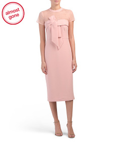 JS COLLECTIONS Illusion Top Bow Midi Dress