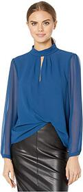 1.STATE Long Sleeve Sheer Keyhole Front Blouse