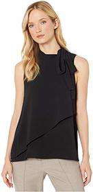 Vince Camuto Sleeveless Tie Neck Front Overlay Sof