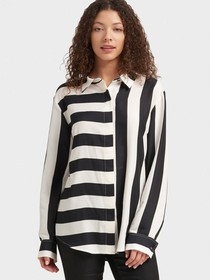 Donna Karan MIXED-STRIPE BUTTON-UP SHIRT