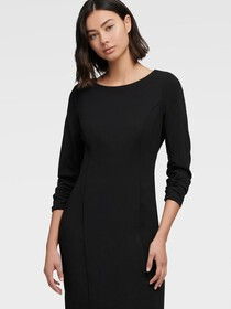 Donna Karan RUCHED SLEEVE SHEATH DRESS
