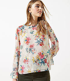 Floral Bell Cuff Blouse