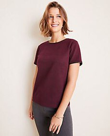 Faux Leather Trim Plaid Tee