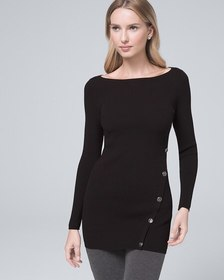Button-Detail Tunic Sweater