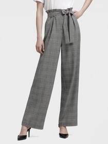 Donna Karan HIGH-WAISTED GLEN PLAID PANT WITH BELT