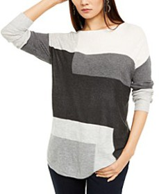 INC Colorblocked Shirttail Sweater, Created For Ma