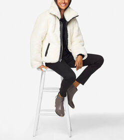 Cole Haan Plush Faux Fur Moto Jacket