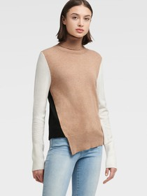 Donna Karan TRI-COLOR ASYMMETRICAL TURTLENECK