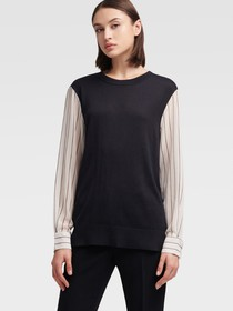 Donna Karan PULLOVER WITH CONTRAST SLEEVES