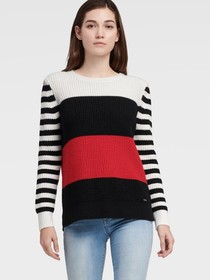 Donna Karan STRIPE SLEEVE COLOR BLOCK SWEATER
