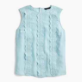 J. Crew Scalloped lace shell in Re-Imagined Silk