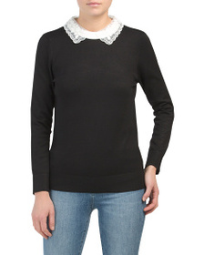 CABLE & GAUGE Long Sleeve Pullover Sweater With Sc