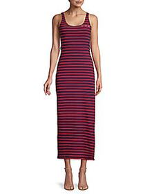 Miu Miu Striped Cotton Sheath Dress BLUE RED